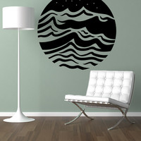 Vinyl Wall Decal Sticker Waves Circle #OS_MB1243