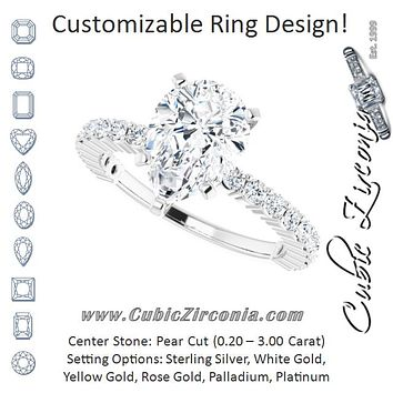Cubic Zirconia Engagement Ring- The Thea (Customizable 5-prong Pear Cut Design with Thin, Stackable Pavé Band)