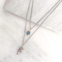Double Leaf Layered Pendant Necklace