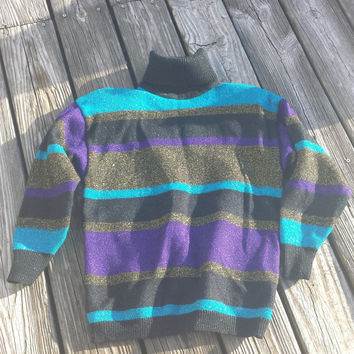 VTG Sparkly Turtleneck Sweater - Holiday Sweater - Lambswool and Rayon - Size Small