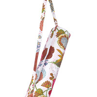 Stylish Yoga Mat Bag - Hand Embroidered in India With Quality Full Zipper & Strap (White)