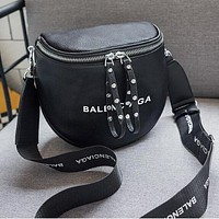 BALENCIAGA Stylish Women Cool Leather Rivets Zipper Shoulder Bag Crossbody Satchel Black