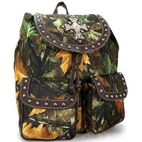 Camo Leaf Studded Cross Backpack Purse Camouflage Bag (Brown)
