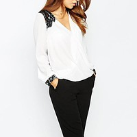 Casual Lace Patchwork Blouse