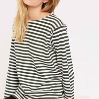 Urban Renewal Vintage Surplus Long Sleeve Stripe Tee in Green - Urban Outfitters