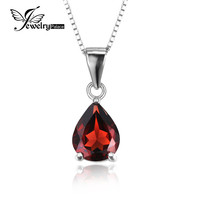 JewelryPalace Pear 2.2ct Natural Red Garnet Birthstone Solitaire Pendant 925 Sterling Silver 2016 New Include a 45cm Box Chain