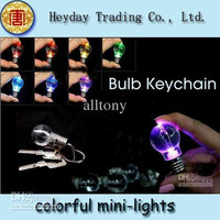 New cute keychain novelty LED bulb light mini light key chain cell phone hanging crafts hot sale!