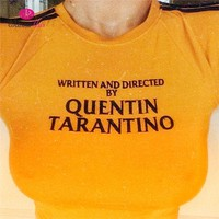 WannaThis QUENTIN TARANTINO T-Shirts Women Short Sleeve Cotton Knitted Yellow Tops Letter Printed 2018 Summer Cool Fashion Tees