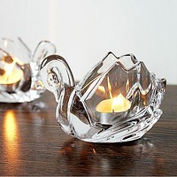 Romantic Swan Glass Candle Holder