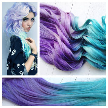 """18"""", Ombre Hair, Tie dye Hair, Dipped Human Hair Extensions, Blonde Extensions, Pastel,Clip in Hair Extensions, Purple Teal Hair"""