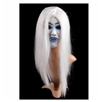 1PCS Scary Latex Mask Halloween Party Toothy Zombie Bride With White Hair Horror Ghost Mask Prom Accessories Supplies