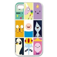 Apple iPhone 4 4G 4S Adventure Time Collage Beemo Toon Design WHITE Sides Case Skin Cover Faceplate Protector Accessory Vintage Retro Unique Comes in Case Cartel Packaging