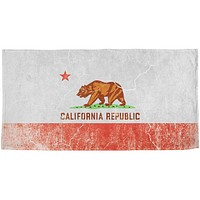 California Vintage Distressed State Flag All Over Beach Towel