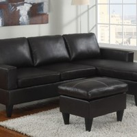 3 pc Espresso Faux leather small space sectional sofa with reversible chaise and leather like vinyl ottoman