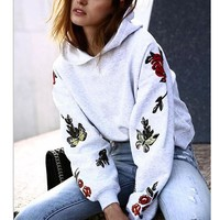 New Womens Embroidery Pullover Sweater +Gift Necklace