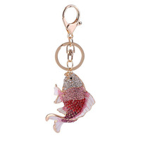 Creative Funny Design Women Bag Pendant Diamond Plated Fish Shape Keyrings Key Chains Automobile Car Keyrings