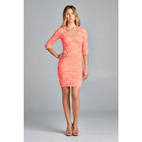 Coral And Lace Dress