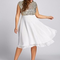 Gamiss Women Flounce Plus Size Dress Sequin Sparkly Dresses Cocktail Short Sleeves Party Ball Gown Knee-Length Female Vestidos