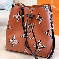 LV New fashion monogram print leather shoulder bag crossbody bag handbag Brown