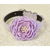 Lavender Flower dog collar, Pet wedding accessory, Lilac