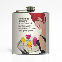 Funny Alcohol Flask Drunk Sober Decisions Liquid Courage Ephemera Drinking 21st Birthday Gift Stainless Steel 6 oz Liquor Hip Flask LC-1438