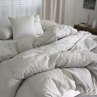 Calm Beige / Light Beige Colored Naturally Wrinkled Soft Twin / Queen Size Bedding Set