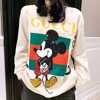 GUCCI & Mickey Mouse New letter stripe print sequins mouse couple long sleeve sweater White