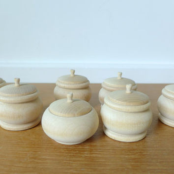 Tiny unfinished wood bowls or boxes with lids, set of seven