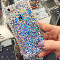 Ice Blue Holographic Glitter iPhone Case