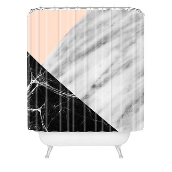 Emanuela Carratoni Marble Collage with Pink Shower Curtain