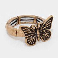 """.75"""" wide butterfly stretch ring"""