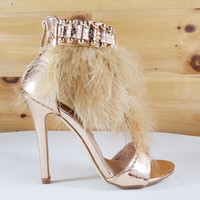 """Suzy 79 T-Strap Feather Sandal Shoes Rose Gold - 4.5"""" Heels"""
