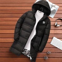 ADIDAS 2018 winter new trend thickening men's cotton coat long down jacket Black