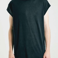 Black Cap Sleeved Longline T-Shirt