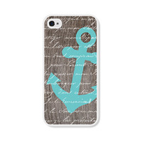 Anchor iPhone 4 Case - Plastic iPhone 4s Case - Wood Nautical iPhone Case Skin - Turquoise Blue Brown White Cell Phone