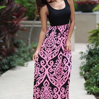 Black And Neon Pink Maxi Dress
