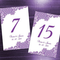 DIY Printable Wedding Table Number Template | Editable MS Word file | 4 x 6 | Instant Download | Purple Henna Design Small Flower