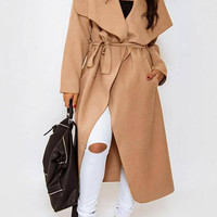 Light Brown Duster Coat with Waterfall Front And Belt