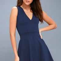 As Swoon As Possible Navy Blue Sleeveless Skater Dress