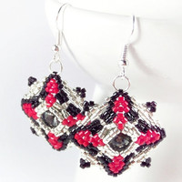 Beadwork Earrings, Silver Black Red Beaded Dangle Earrings with Swarovski Rivoli Crystals, Geometric Fashion Jewelry