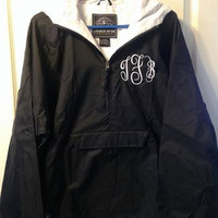 Charles River youth classic solid lined pullover with monogram, water and wind resistant