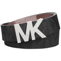 MICHAEL Michael Kors Signature Belt with MK Logo Plaque | macys.com