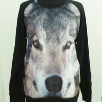 Wolf sweatshirt long sleeve pullover jumper sweater **wild animal tshirt ** winter clothing size M L one size