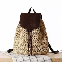 Summer Vacation Casual Woven Backpack [6580754567]