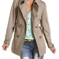 Double Breasted Cotton Trench Coat: Charlotte Russe