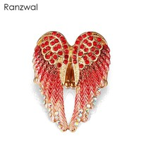 Ranzwal Fashion Angel Wings Resizable Rings for Women Antique Gold Silver Color Rings with Rhinestones Punk Jewelry ARI062