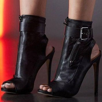 Ankle Boots High Heels Women Shoes Peep Toe Sexy Lady Boots Party Thin Heeled Shoes-1