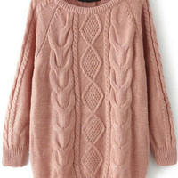 Cable Knit Loose Pink Sweater -SheIn(Sheinside)