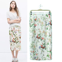 Stylish High Rise Print Split Women's Fashion Dress Skirt [5013347268]