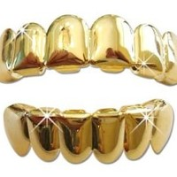 Gold-Tone Hip Hop Plated Removeable Mouth Grillz Set (Top & Bottom) Player Style